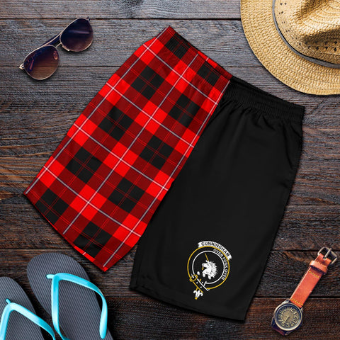 Image of Tartan Mens Shorts - Clan Cunningham Crest & Plaid Shorts - Half Of Me Style