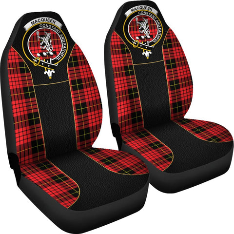 Image of ScottishShop Seat Cover - Tartan Crest Macqueen Tartan Car Seat Cover Clan Badge - Special Version - Universal Fit