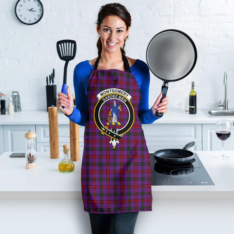 Tartan Apron - Montgomery Modern Apron With Clan Crest HJ4