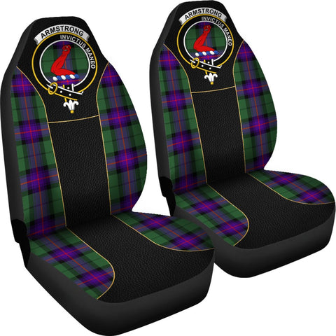 ScottishShop Seat Cover - Tartan Crest Armstrong Tartan Car Seat Cover Clan Badge - Special Version - Universal Fit