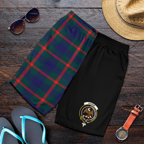 Tartan Mens Shorts - Clan Agnew Crest & Plaid Shorts - Half Of Me Style
