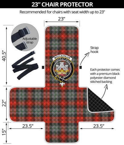 Image of Clan MacLachlan Weathered Plaid & Crest Tartan Sofa Protector - 23 Inches