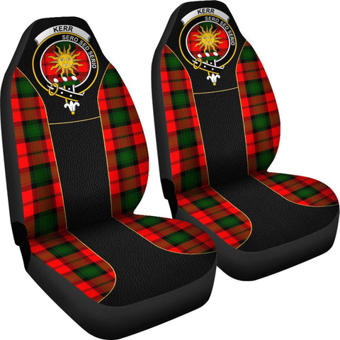 ScottishShop Seat Cover - Tartan Crest Kerr Tartan Car Seat Cover Clan Badge - Special Version - Universal Fit