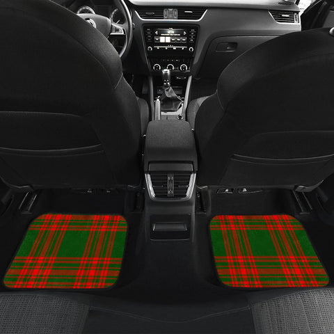 Car Floor Mats - Clan Menzies Green Modern Crest And Plaid Tartan Car Mats - 4 Pieces
