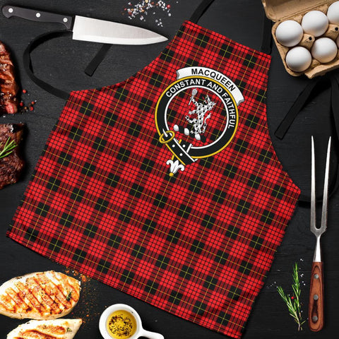 Image of Tartan Apron - MacQueen Modern Apron With Clan Crest HJ4