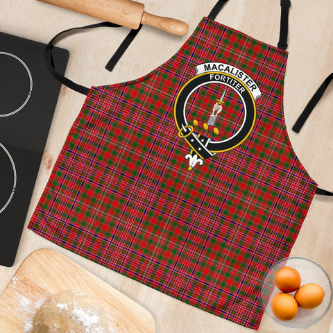 Tartan Apron - MacAlister Modern Apron With Clan Crest HJ4