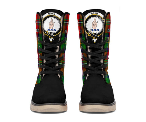 ScottishShop Snow Boots - Clan Tartan Boyd Plaid Boots Crest Style