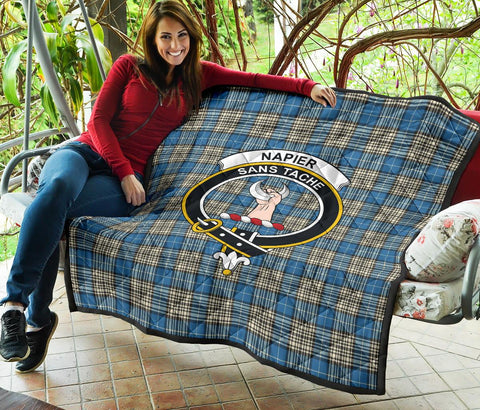 Premium Quilt - Napier Ancient Tartan Quilt - Clan Crest TH8