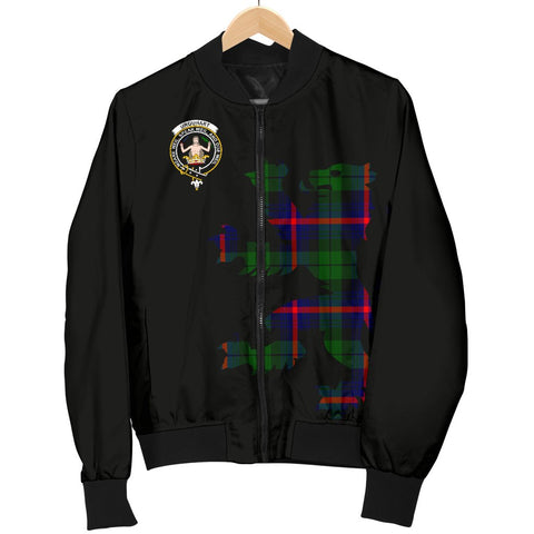 Image of ScottishShop Tartan Bomber Jacket - Urquhart Tartan Lion & Thistle Men Jacket