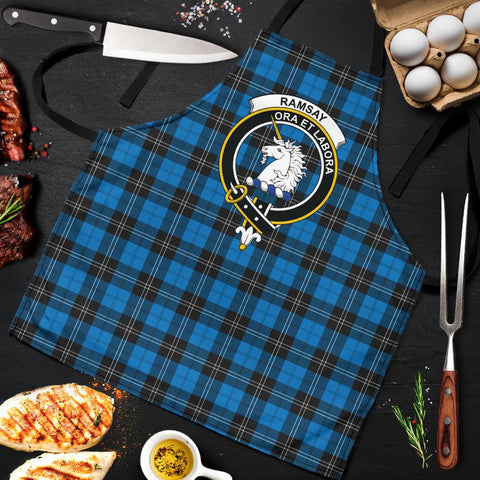 Tartan Apron - Ramsay Blue Ancient Apron With Clan Crest HJ4