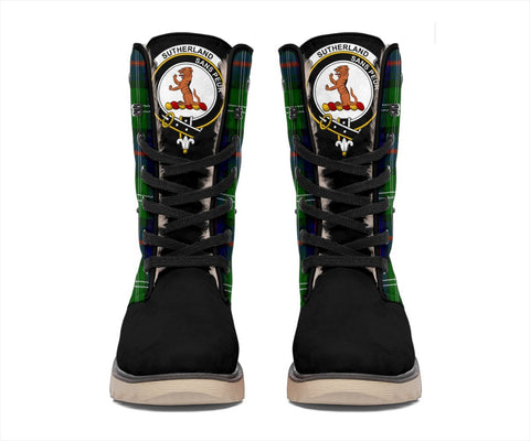 Snow Boots - Clan Tartan Sutherland II Plaid Boots - Crest On Tongue Style
