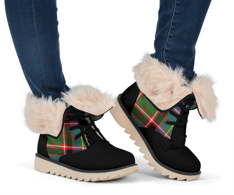 Snow Boots - Clan Tartan Stirling (of Keir) Plaid Boots - Crest On Tongue Style