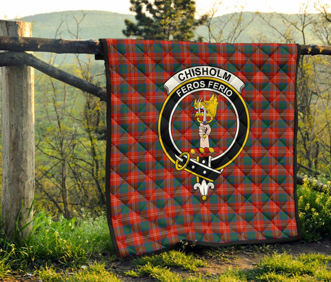 Premium Quilt - Chisholm Ancient Tartan Quilt - Clan Crest TH8