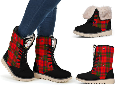 Snow Boots - Clan Tartan Heron Plaid Boots - Crest On Tongue Style