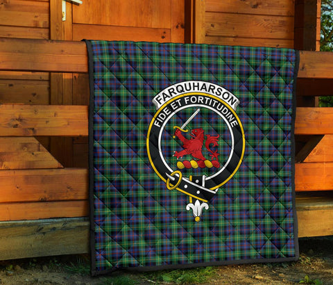 Image of Premium Quilt - Farquharson Ancient Tartan Quilt - Clan Crest TH8