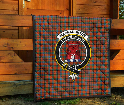 Premium Quilt - MacNaughton Ancient Tartan Quilt - Clan Crest TH8