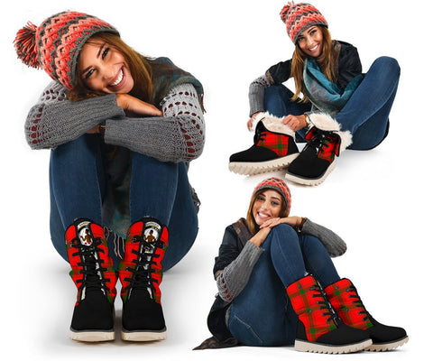 Snow Boots - Clan Tartan Darroch (Gourock) Plaid Boots - Crest On Tongue Style