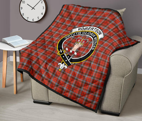 Image of Premium Quilt - Robertson Weathered Tartan Quilt - Clan Crest TH8