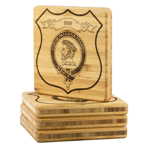 Tartan Bamboo Coaster - Muir Wood Coaster With Clan Crest K7