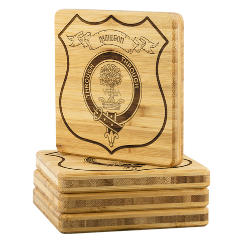 Image of Tartan Bamboo Coaster - Hamilton Wood Coaster With Clan Crest K7