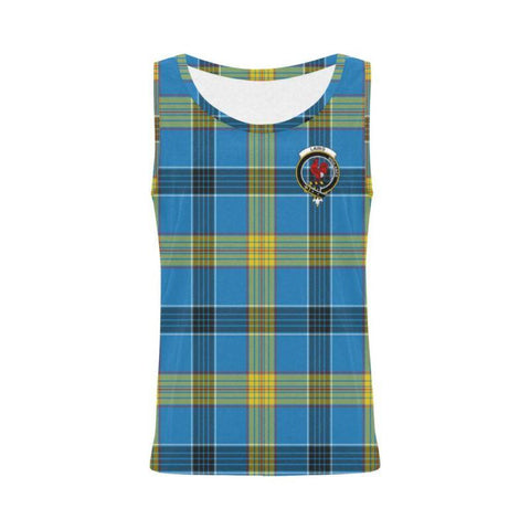 Laing Tartan Clan Badge All Over Print Tank Top Nl25 S / Women Tops