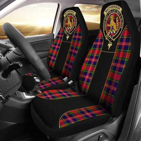 Seat Cover - Tartan Crest Macpherson Modern Tartan Car Seat Cover Clan Badge - Special Version - Universal Fit