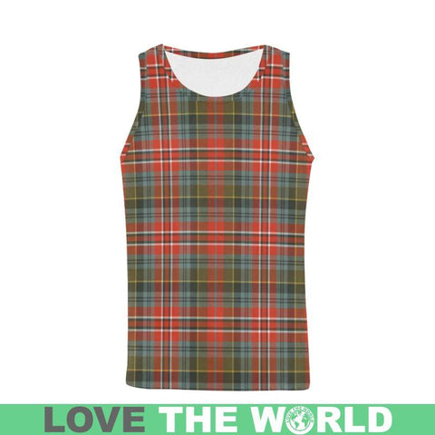Macpherson Weathered Tartan All Over Print Tank Top Nl25 S / Women Tops