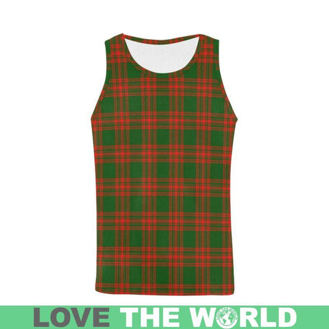 Menzies Green Modern Tartan All Over Print Tank Top Nl25 S / Women Tops