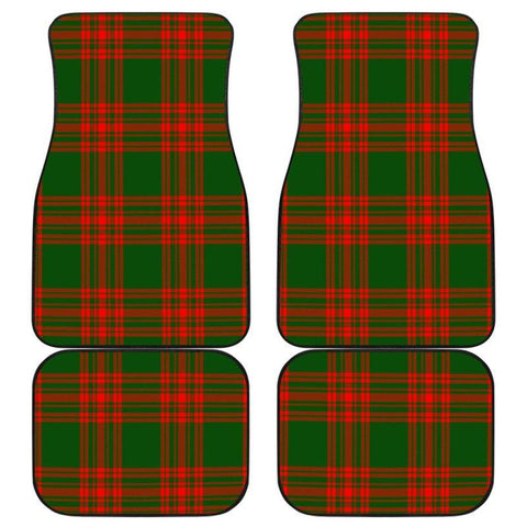 Car Floor Mats - Clan Menzies Green Modern Plaid Tartan Car Mats - 4 Pieces