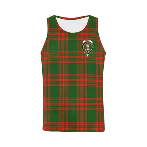 Menzies Green Modern Tartan Clan Badge All Over Print Tank Top Nl25 Xs / Men Tops