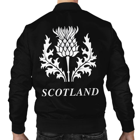 ScottishShop Tartan Bomber Jacket - Lamont Tartan Lion & Thistle Men Jacket