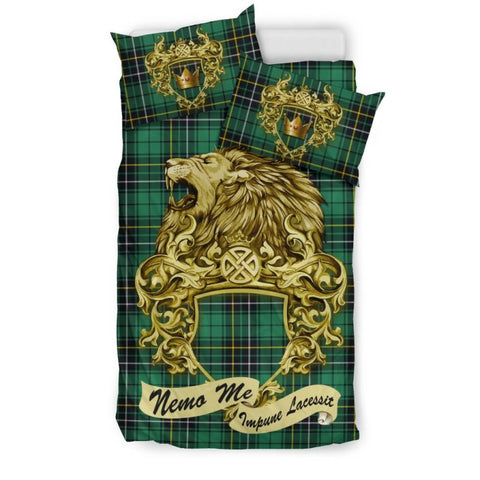 Scotland Lion Macalpine Ancient Tartan Bedding Set D7 Bedding Set - Black Black / Twin Sets