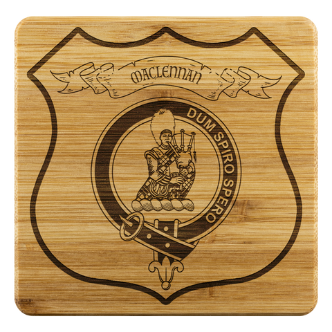 Image of Tartan Bamboo Coaster - MacLennan Wood Coaster With Clan Crest K7