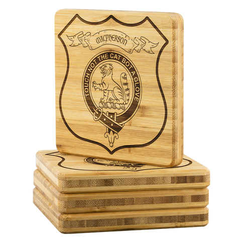Image of Tartan Bamboo Coaster - MacPherson Wood Coaster With Clan Crest K7