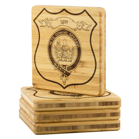 Tartan Bamboo Coaster - Lyon Wood Coaster With Clan Crest K7