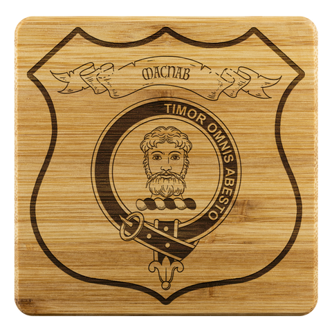 Tartan Bamboo Coaster - MacNab Wood Coaster With Clan Crest K7