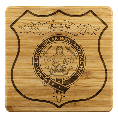 Tartan Bamboo Coaster - Urquhart Wood Coaster With Clan Crest K7