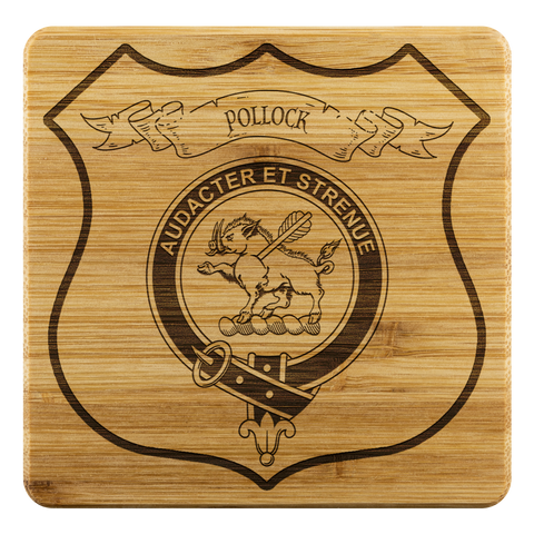 Tartan Bamboo Coaster - Pollock Wood Coaster With Clan Crest K7
