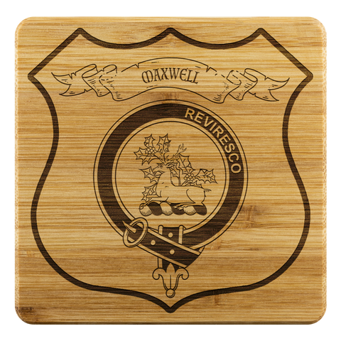 Image of Tartan Bamboo Coaster - Maxwell Wood Coaster With Clan Crest K7