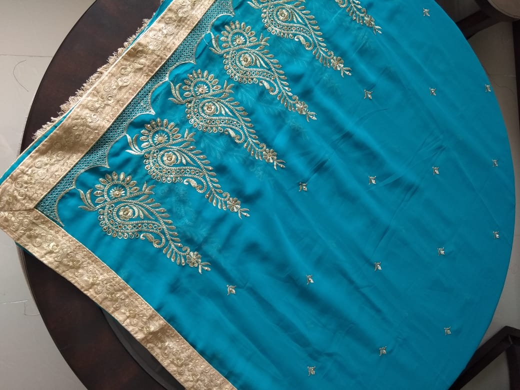 Beautiful Designer Georgette Saree With Blouse Piece