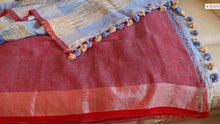 Load image into Gallery viewer, Bengal Cotton Linen Saree With Blouse Piece