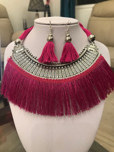 Stylish Pink Silk Thread Jewellery - Necklace & Earring Set for Girls and Women