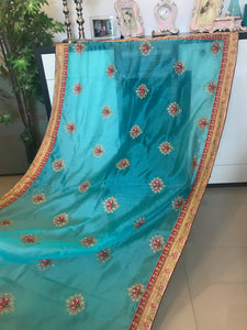 Munga Silk -Sky Blue Designer Saree With Blouse Piece