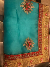 Load image into Gallery viewer, Munga Silk -Sky Blue Designer Saree With Blouse Piece