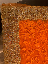 Load image into Gallery viewer, Designer Net Saree Orange With Blouse Piece