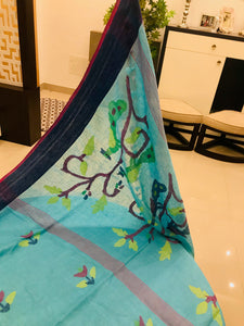 Linen Jamdani Saree with blouse piece