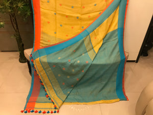 Beautiful Bengal Saree - Cotton Linen Saree With Blouse Piece