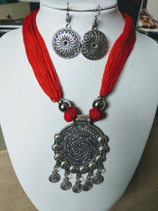 Stylish Red Thread Oxidised Necklace with Earring for Girls And Women