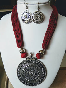 Stylish Maroon & Silver colour Necklace & Earrings Set for Girls and Women