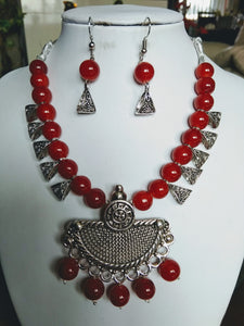 Stylish Jewellery Red Necklace Earrings Set for Girls and Women